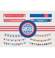Patriotic bunting flags and straw flags 4th of vector image