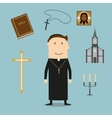 Priest and religious icons or symbols vector image