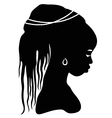 black silhouette African woman vector image