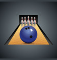 Realistic bowling icon on dark gray background vector image