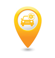 car with wheel and tools icon map pointer yellow vector image vector image