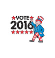 Vote 2016 Uncle Sam Hand Pointing Up Retro vector image