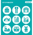 set of round icons white City of industry garage vector image
