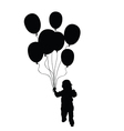 child holding balloons silhouette in black vector image