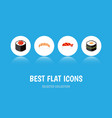 flat icon salmon set of japanese food seafood vector image
