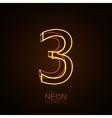 Neon 3D number 3 vector image
