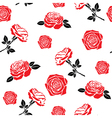 Pattern of red flowers roses vector image