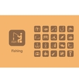 Set of fishing simple icons vector image