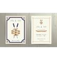 Vintage nautical twin paddles ribbon wedding vector image