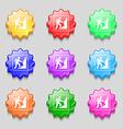 rock climbing icon sign symbol on nine wavy vector image