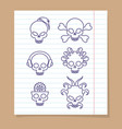 cute line skulls on notebook page vector image