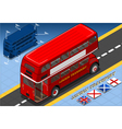 Isometric Double Decker Bus in Rear View vector image