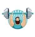 Athlete lifting the barbell Strongman with a iron vector image
