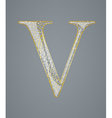 Abstract golden letter V vector image