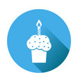 birthday cake flat icon fresh pie muffin on blue vector image