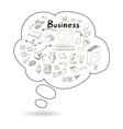 Doodle speech bubble icon with business vector image