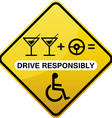 Drive responsibly road sign yellow vector image