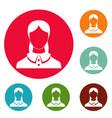 new female avatar icons circle set vector image