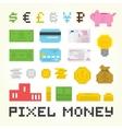 Pixel art money set vector image