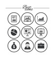 statistics accounting icons charts signs vector image