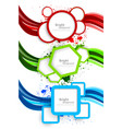 Set of wavy banners with geometric elements vector image vector image