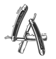 Print of straight razors in letters LA vector image