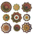 mandala colorful set vector image