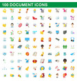 100 document icons set cartoon style vector image vector image