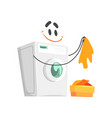 funny washing machine character with smiling face vector image