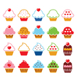 Cupcake with heart cherry and sparkles cute icons vector image vector image