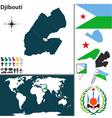 Djibouti map world vector image vector image