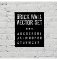 brick wall and stencil alphabet set vector image