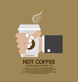 Hot Coffee In Hand Flat Design vector image