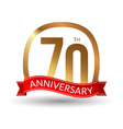 70 years anniversary experience gold label with vector image