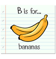 Flashcard letter B is for bananas vector image