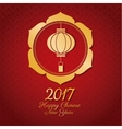 chinese new year 2017 lantern gold frame vector image