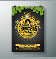 christmas party flyer design with glittered vector image