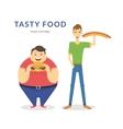 Happy fat and thin men eating a big food vector image