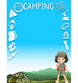 Little girl and camping equipments vector image