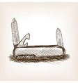 Pocketknife hand drawn sketch style vector image