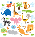 set of cute tropical animals vector image
