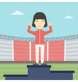 Sportswoman celebrating on the winners podium vector image