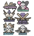 set of colorful skateboard emblems vector image