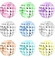 Set colorful crystal on black space vector image vector image