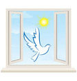 Dove bird pigeon fly in open window vector image vector image