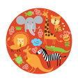 set of animals in round vector image