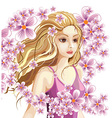 Beautiful Blonde girl In a Wreath of Flowers vector image