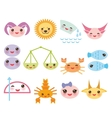 Funny Kawaii zodiac sign astrological set virgo vector image