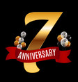 Golden 7 years anniversary template with red vector image