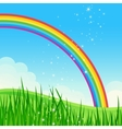 Shiny rainbow meadow landscape vector image